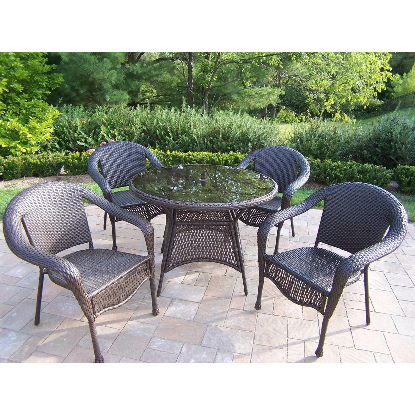 Oakland Living Resin Wicker 5 Piece Dining Set - Coffee