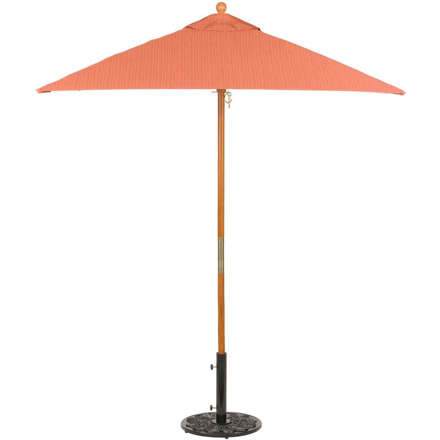 Oxford Garden 6 Ft. Square Wood Patio Market Umbrella - Dupione Papaya