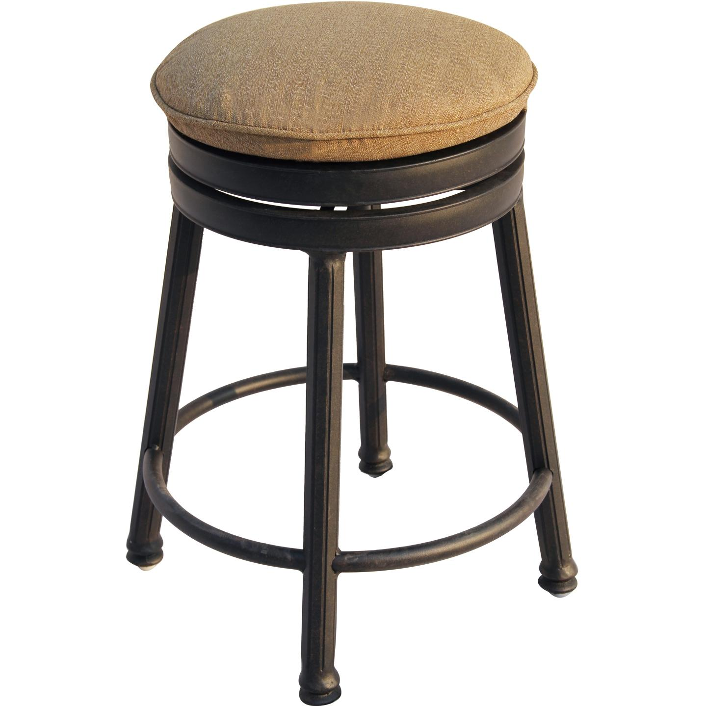 Darlee Cast Aluminum Outdoor Patio Backless Counter Height Round Swivel Bar Stool With Cushion - Antique Bronze