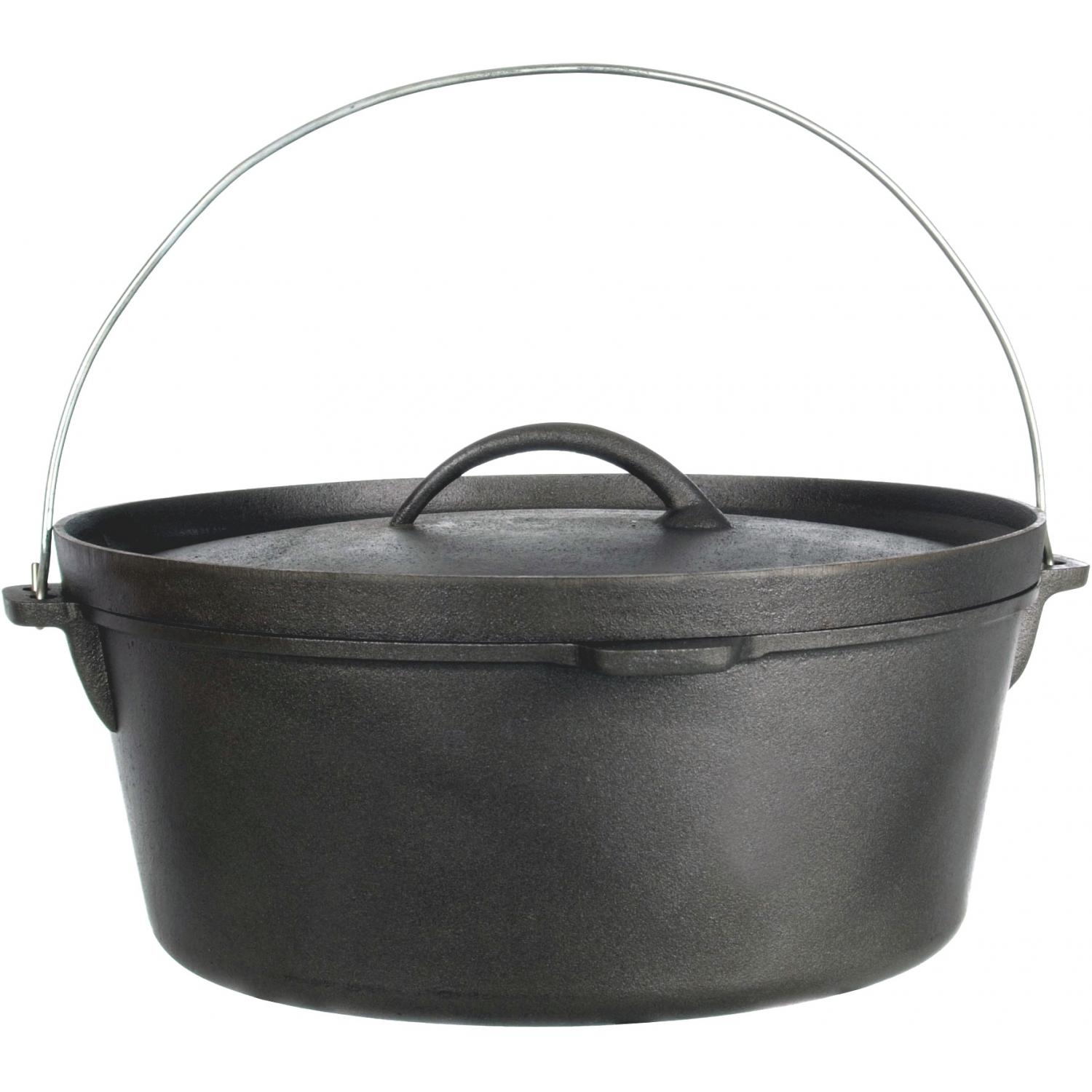 Cajun Cookware Pots 12-Quart Seasoned Cast Iron Camp Pot - GL10476S