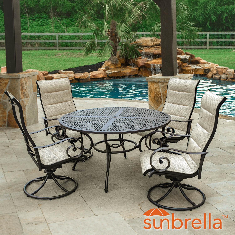 Elysian 5 Piece Padded Sunbrella Sling Patio Dining Set W...