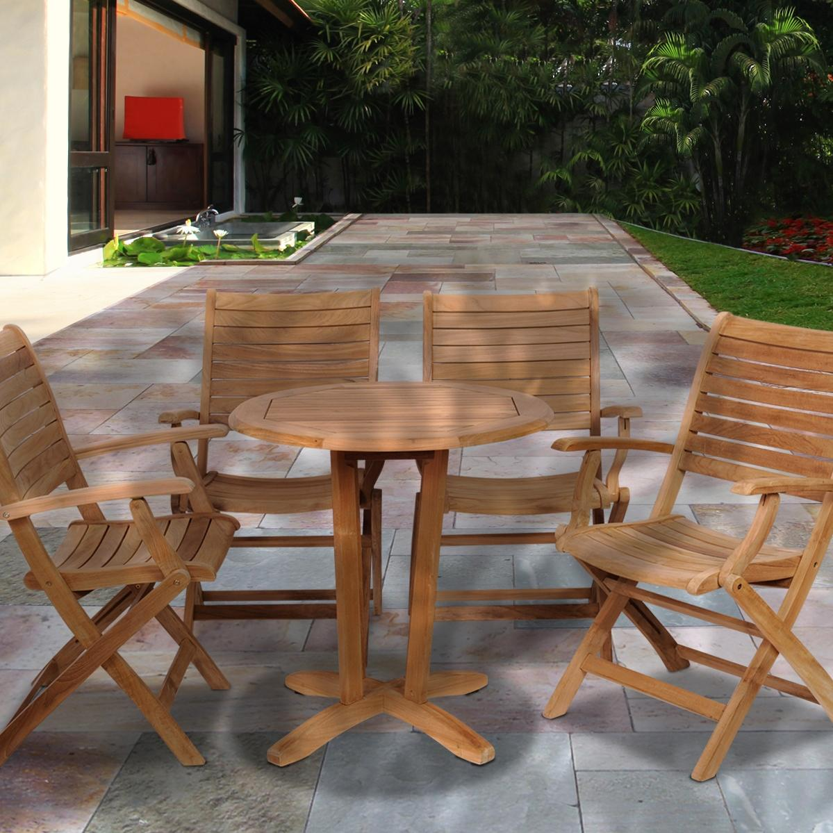 Amazonia Teak Aruba 4-person Teak Patio Dining Set With Folding Chairs