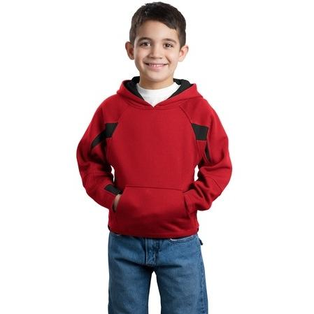 Sport-Tek Youth Color-Spliced Hooded Pullover Sweatshirt Medium - Red/Black 2702526
