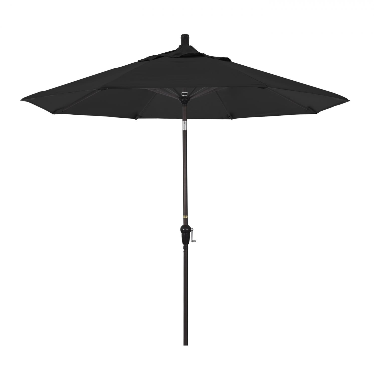 California Umbrella 9 Ft. Octagonal Aluminum Auto Tilt Patio Umbrella W/ Crank Lift & Aluminum Ribs - Bronze Frame / Sunbrella Canvas Black Canopy