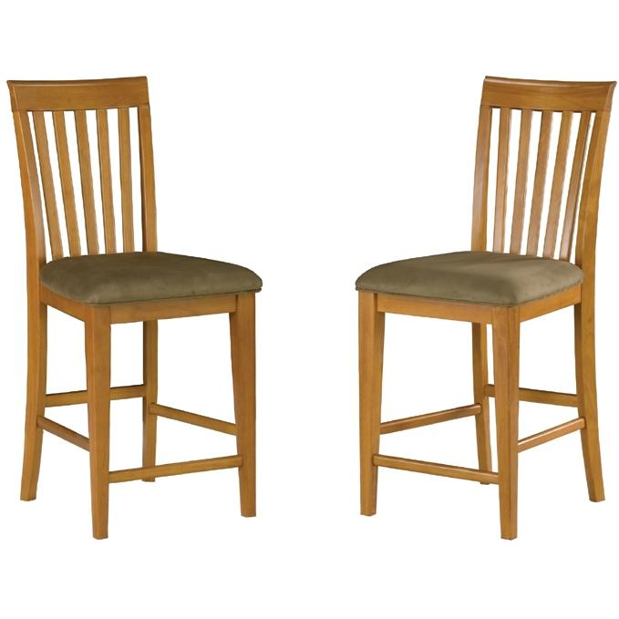 Atlantic Furniture 7002710 Mission Pub Chairs Caramel Latte W/ Cappuccino Cushion (Set Of 2 Chairs)