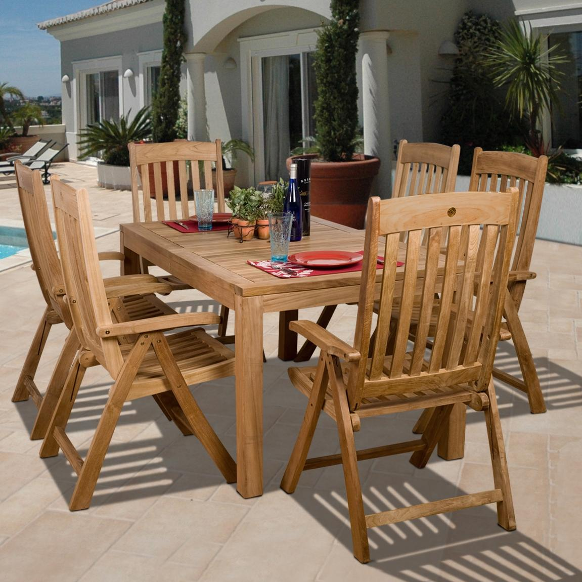 Amazonia Teak Bucarest 6-person Teak Patio Dining Set With Reclining Chairs