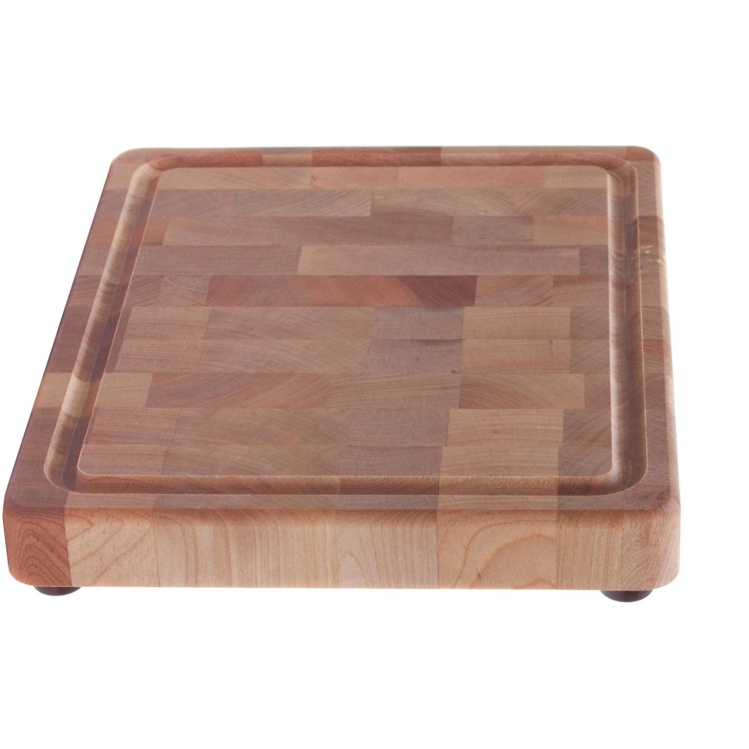 End Grain Board W/Groove And Rubber Feet