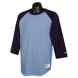 Champion Tagless Raglan Baseball T-Shirt XL - Light Blue/Navy
