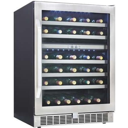 Danby DWC153BLSST Silhouette Select 51 Bottle Dual Zone Built-In Wine Cooler - Glass Door / Stainless Steel Trim