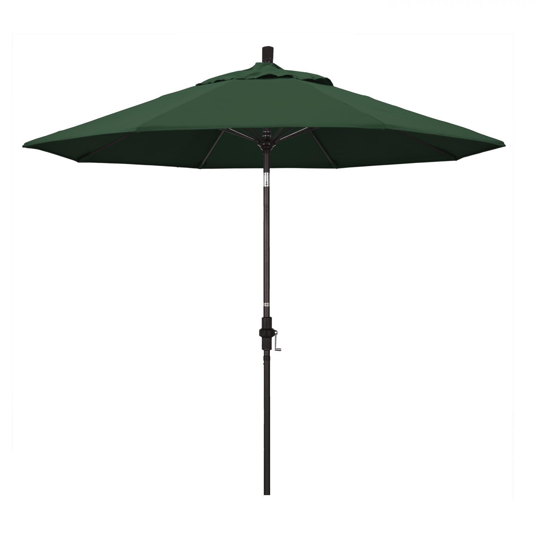 California Umbrella 9 Ft. Octagonal Aluminum Collar Tilt Patio Umbrella W/ Crank Lift & Fiberglass Ribs - Bronze Frame / Olefin Hunter Green Canopy