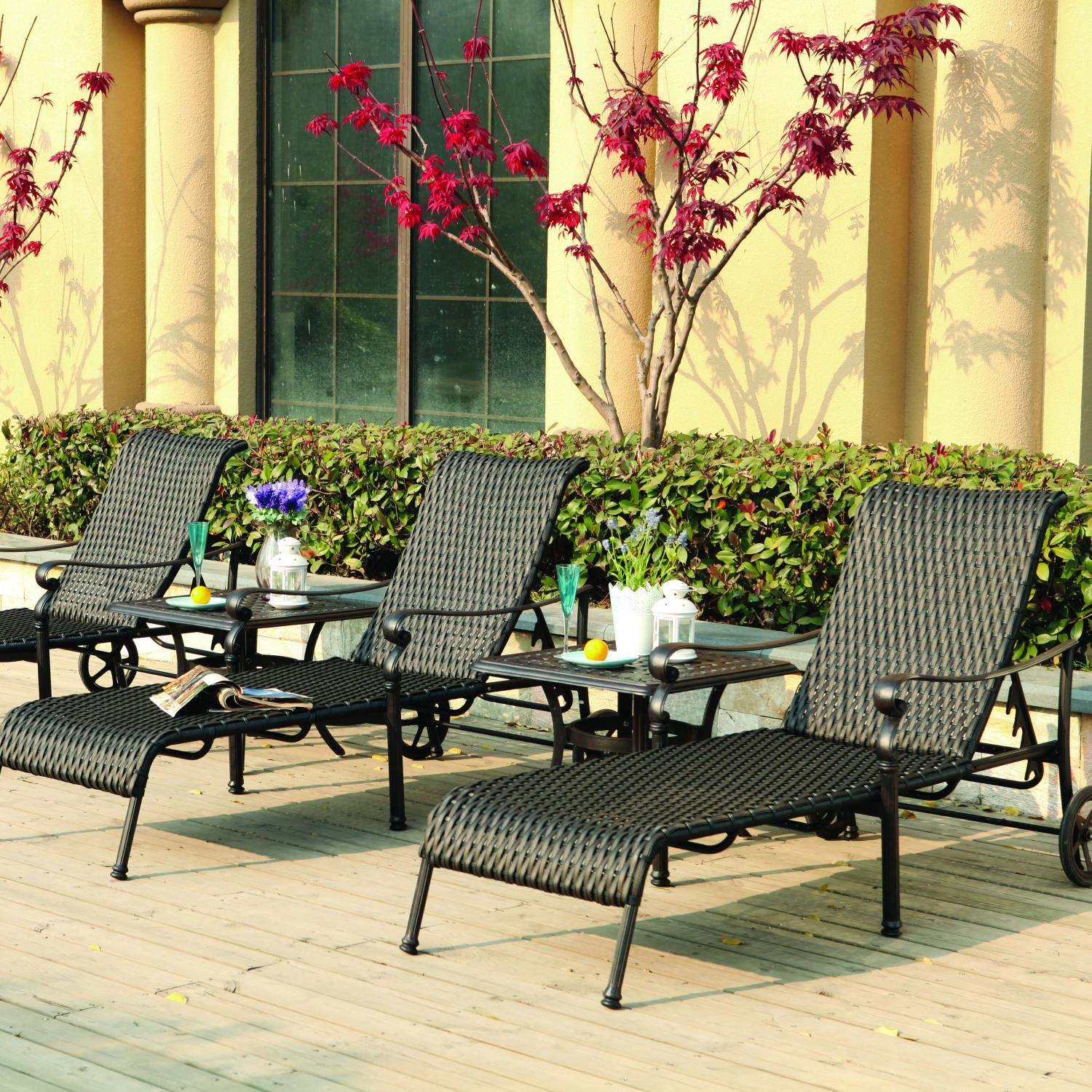 Darlee Victoria 3-person Resin Wicker Patio Chaise Lounge Set - Espresso at Sears.com