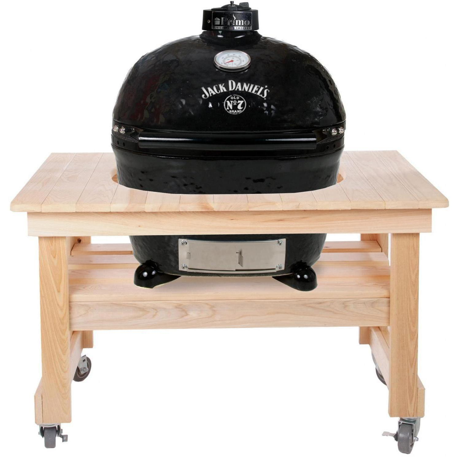 Primo Jack Daniels Edition Oval XL Ceramic Kamado Grill On Compact Cypress Table - 900 + 602