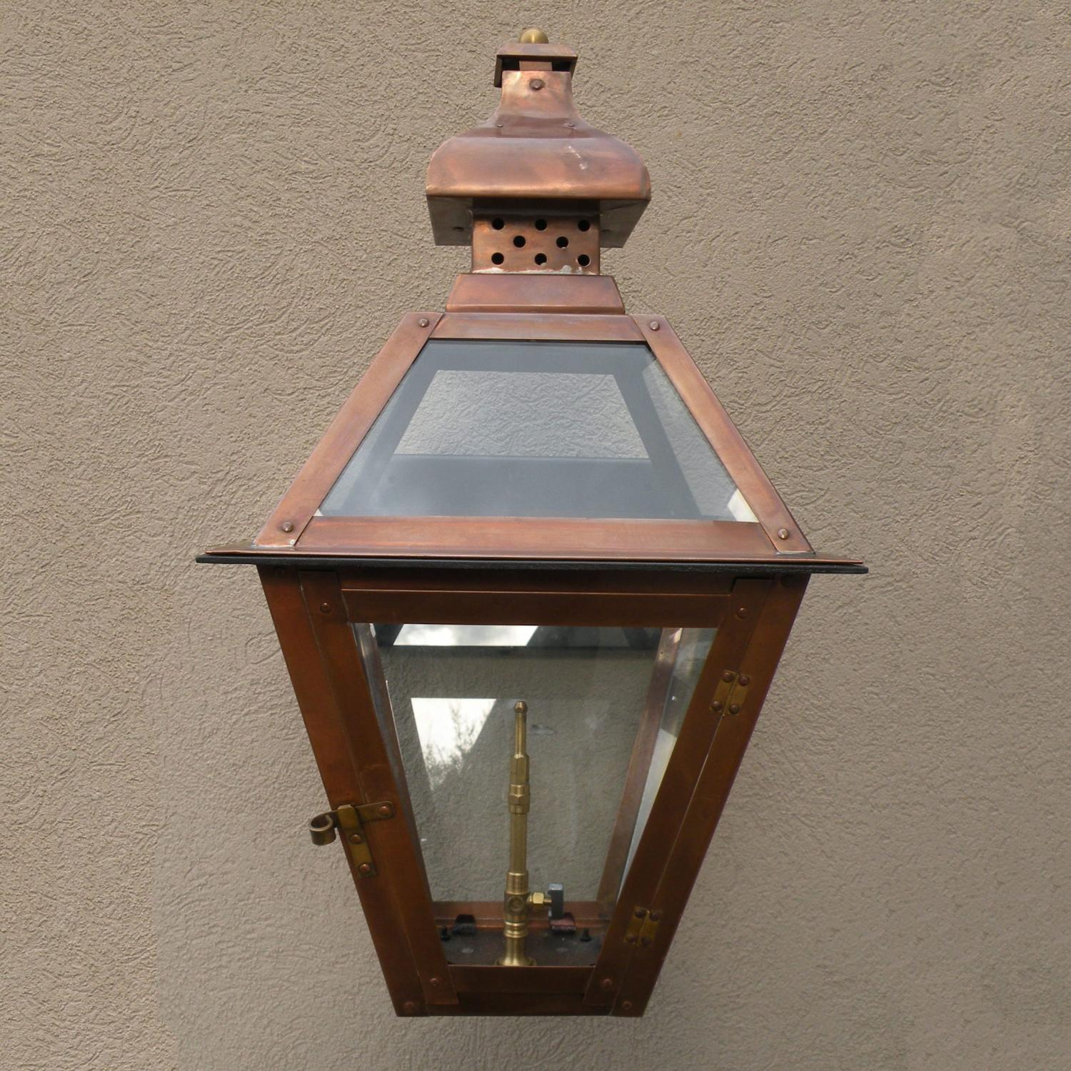 Regency GL20 Regenia Rue Propane Gas Light With Open Flame Burner And Manual Ignition On Decorative Corner Wall Mount