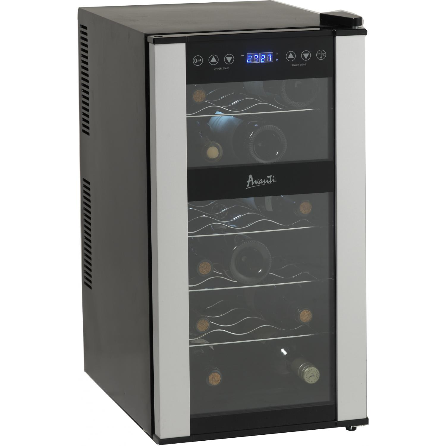Picture of Avanti 18 Bottle Thermoelectric Freestanding Dual Zone Wine Chiller - Black - EWC1802DZ