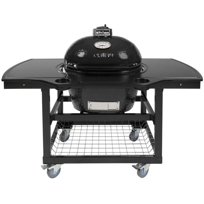 Primo Ceramic Charcoal Smoker Grill On Cart With 1-Piece Island Side Shelves & Cup Holders - Oval Large 2910706