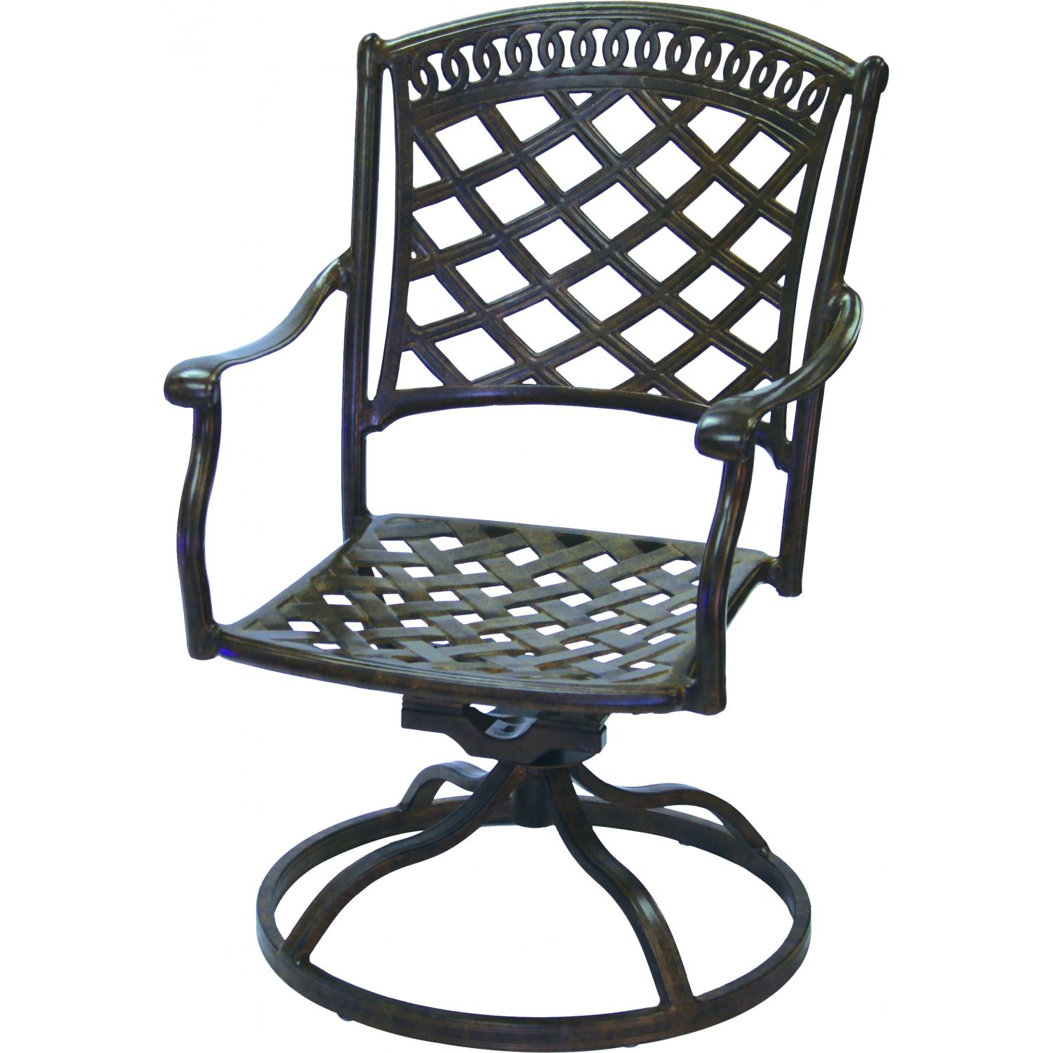 Darlee Sedona Cast Aluminum Patio Swivel Rocker Dining Chair Antique Bronze
