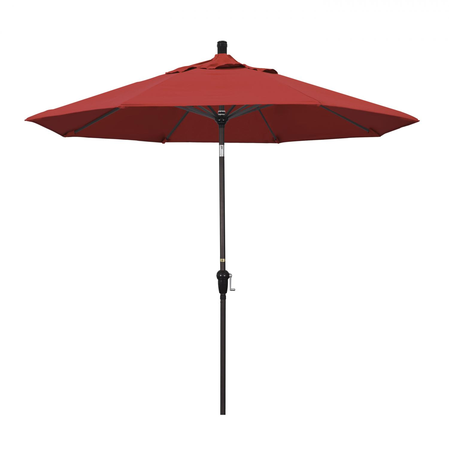 California Umbrella 9 Ft. Octagonal Aluminum Auto Tilt Patio Umbrella W/ Crank Lift & Aluminum Ribs - Bronze Frame / Olefin Red Canopy