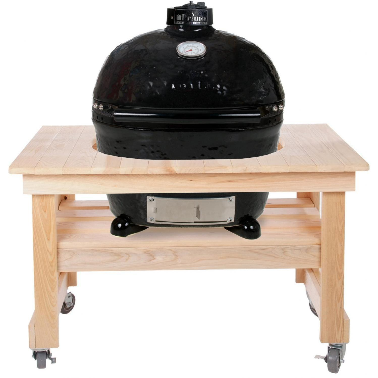 Primo Oval XL Ceramic Kamado Grill On Compact Cypress Table - 778 + 602