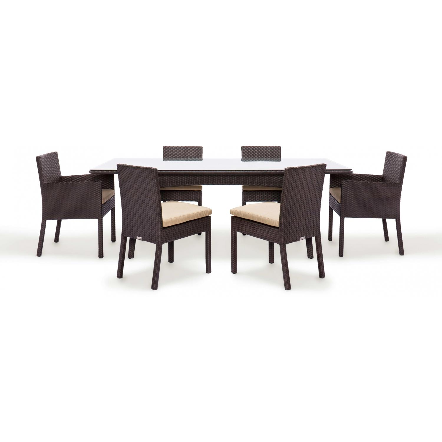 Caluco Maxime Wicker 84 Inch Dining Set