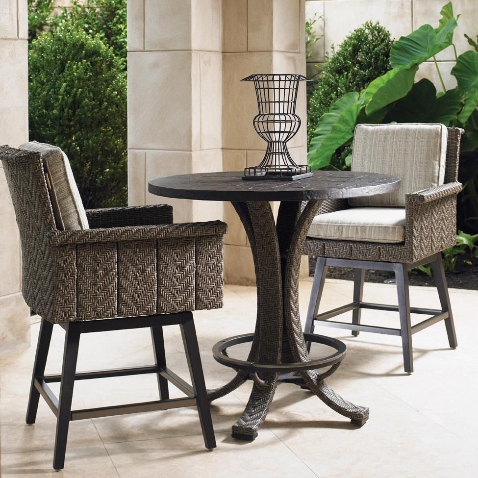 Tommy Bahama Blue Olive 2-Person Wicker Patio Counter Height Bar Set
