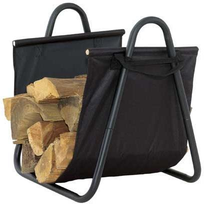 UniFlame Black Log Rack With Heavy Canvas Carrier