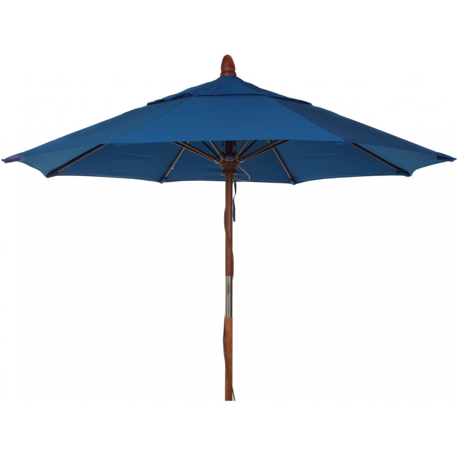 7 Ft Wood Patio Umbrella - Pacific Blue 2848340
