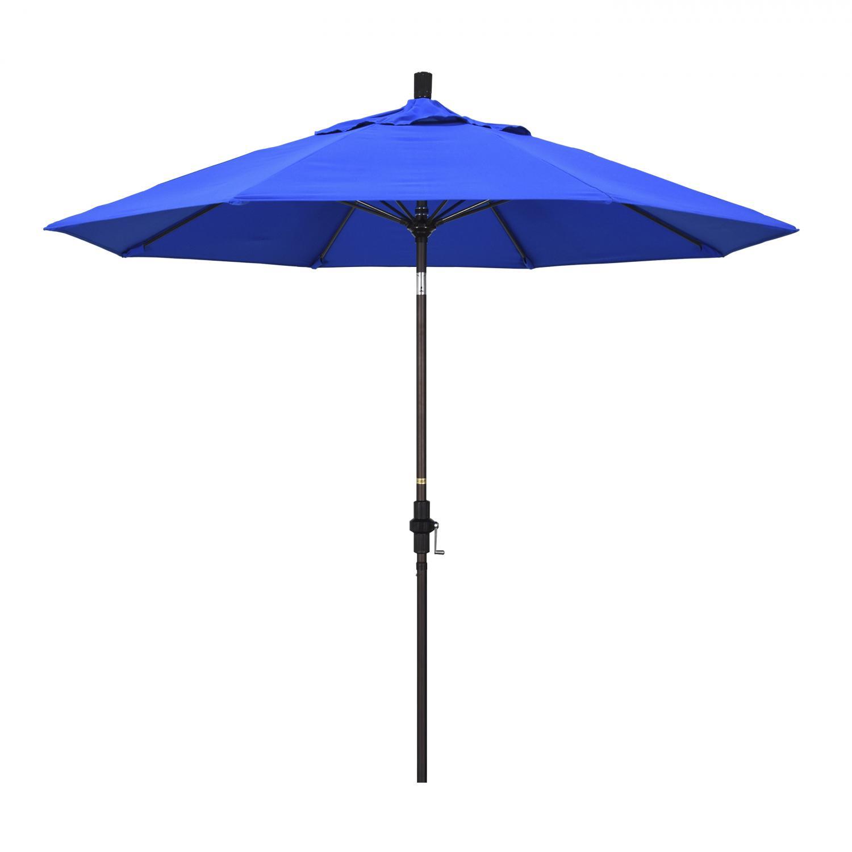 California Umbrella 9 Ft. Octagonal Aluminum Collar Tilt Patio Umbrella W/ Crank Lift & Fiberglass Ribs