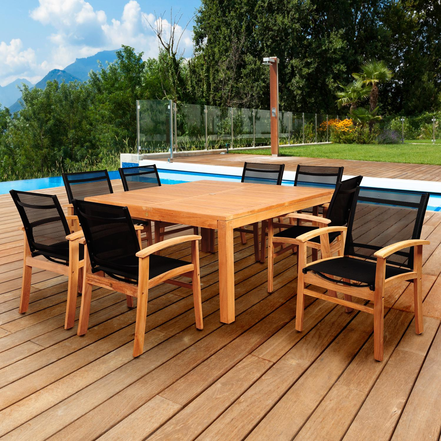 Amazonia Sunset View 8-person Sling Patio Dining Set With Teak Table