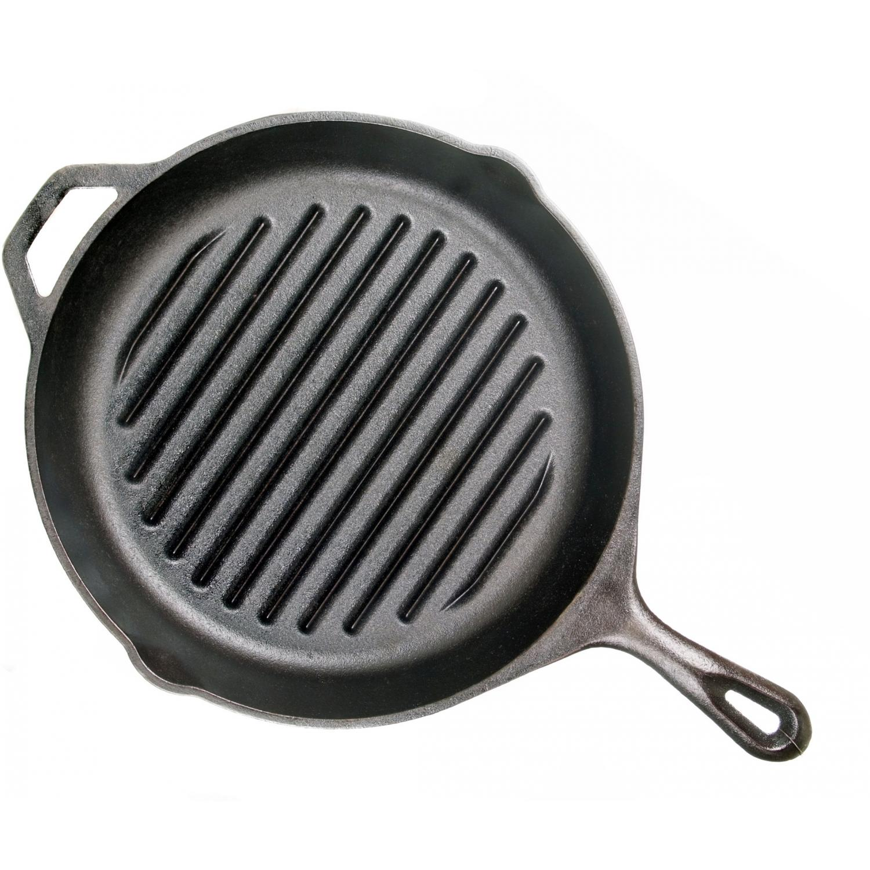 Lodge Pans Round Seasoned Cast Iron Grill Pan - L9TB3
