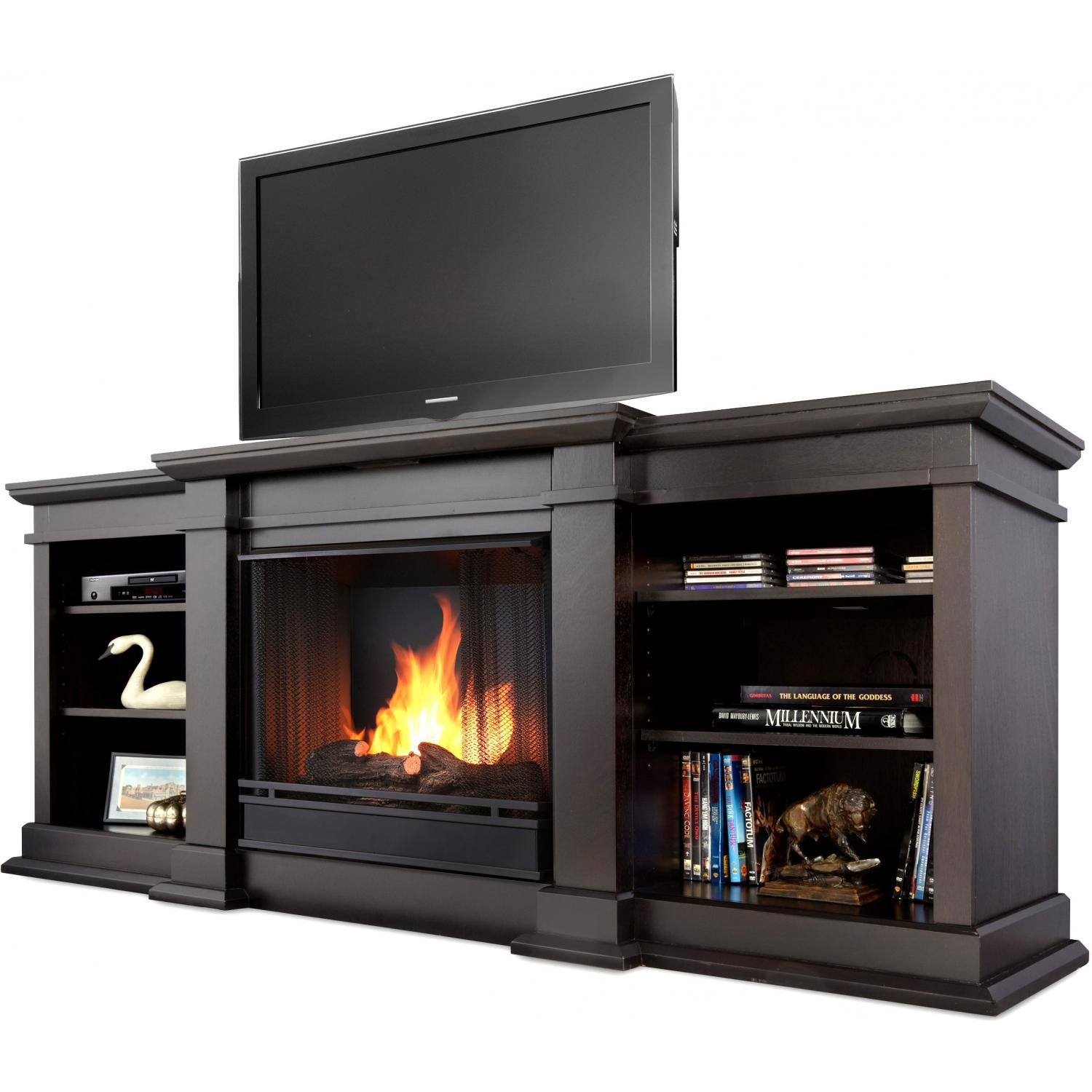 Real Flame Fresno 71-Inch Gel Fireplace Media Console - Dark Walnut