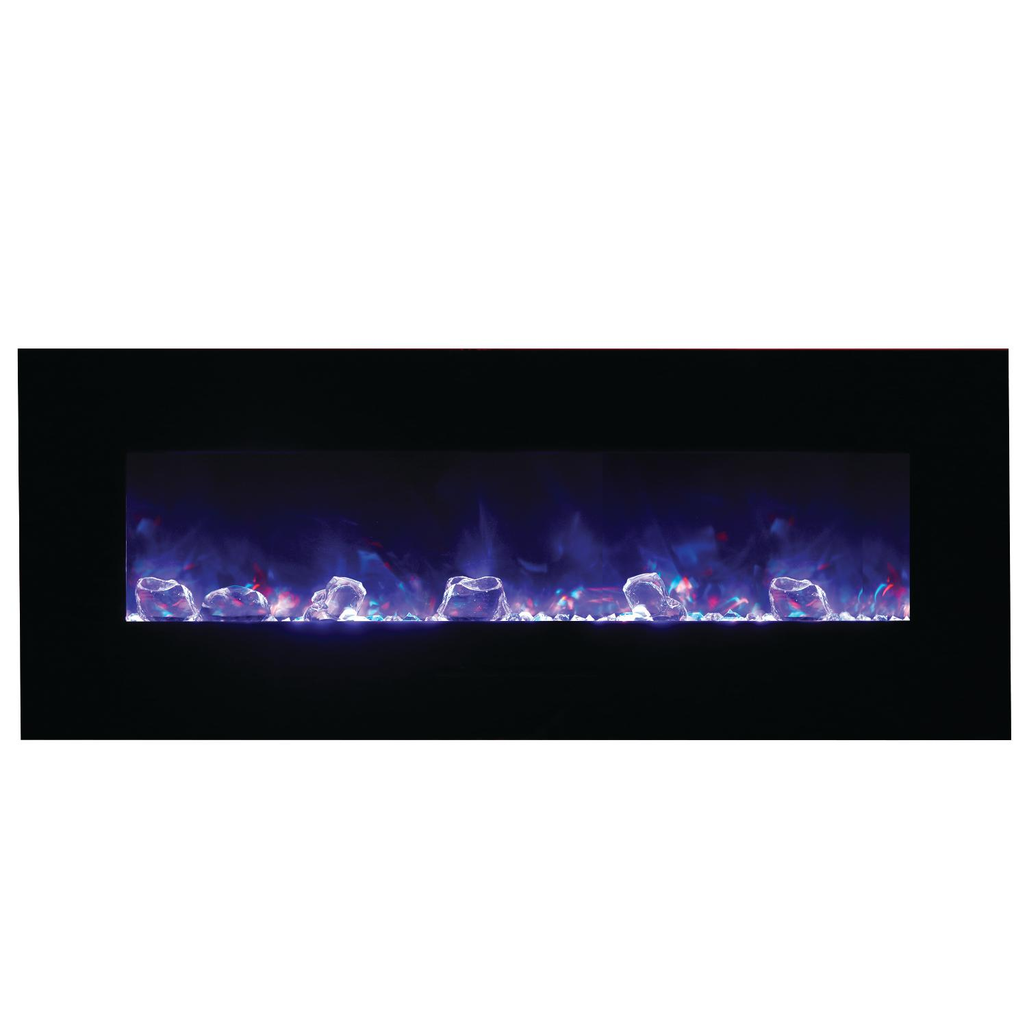 "Amantii Wall Mount/flush Mount 48"" Electric Fireplace With Black Glass Surround - Wm-fm-48-5823-bg"