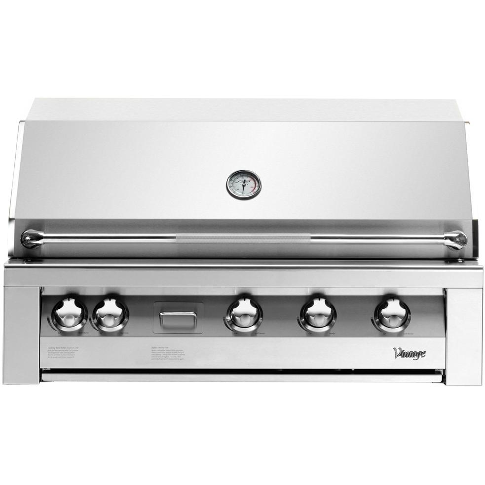 Vintage Gas Grills 42 Inch Built-In Natural Gas Grill With Smoker Burner And Rotisserie Burner