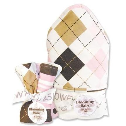 Trend Lab Hooded Towel And Wash Cloth Set - Prep School Pink