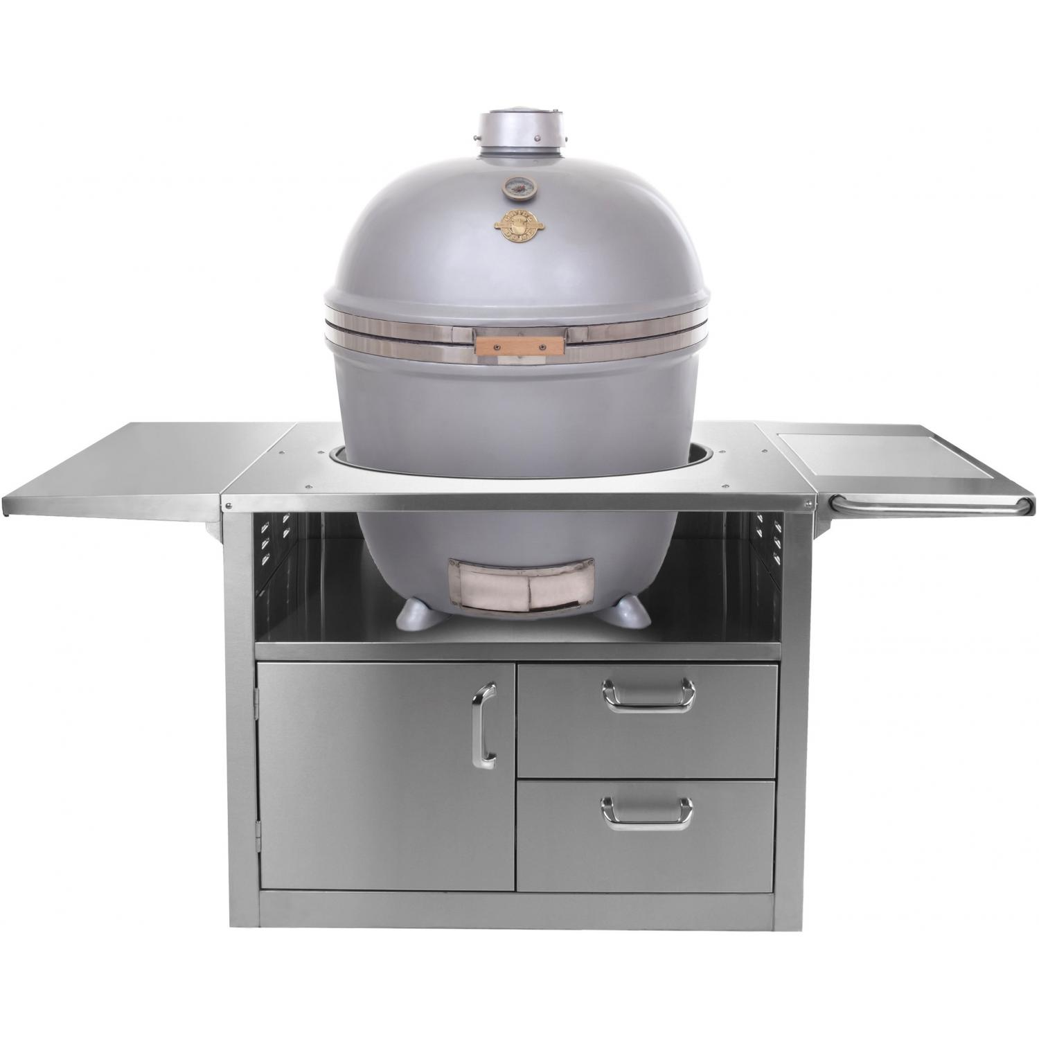 Grill Dome Infinity Series XL Kamado Grill On Stainless Steel Cart - Silver, Discount ID GDXL-SV SS-Kamado-Top-XL-BGE SS-Kamado-Cart
