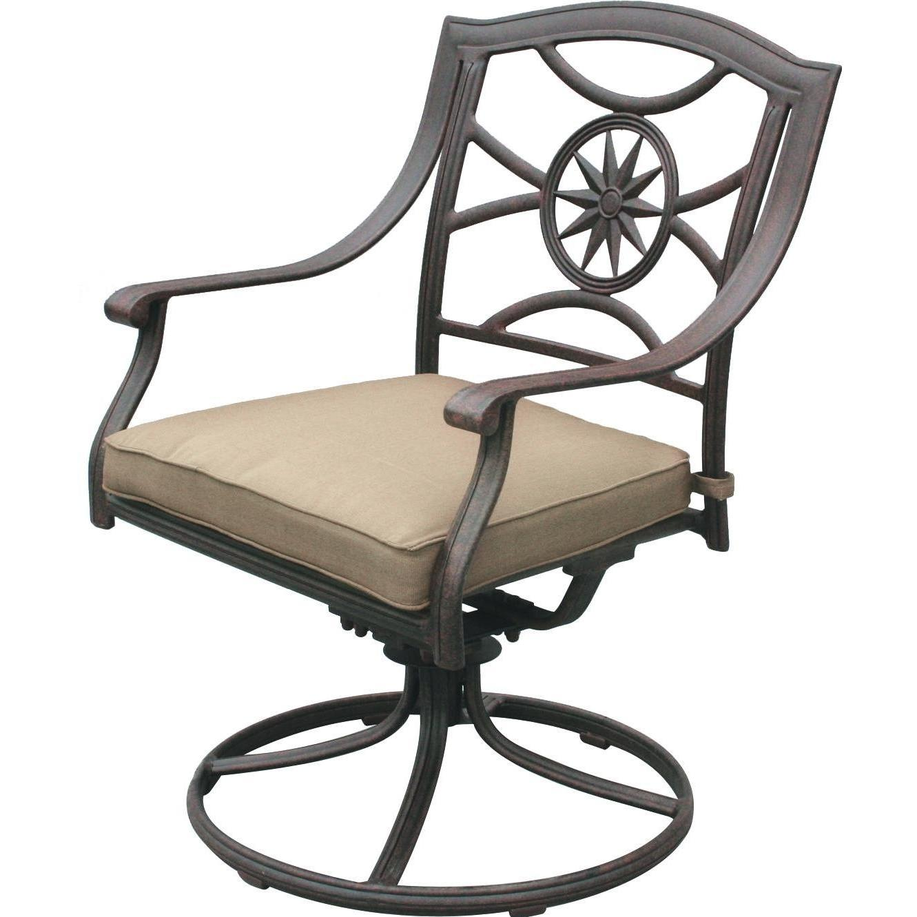 Darlee Ten Star Cast Aluminum Patio Swivel Rocker Dining Chair - Antique Bronze