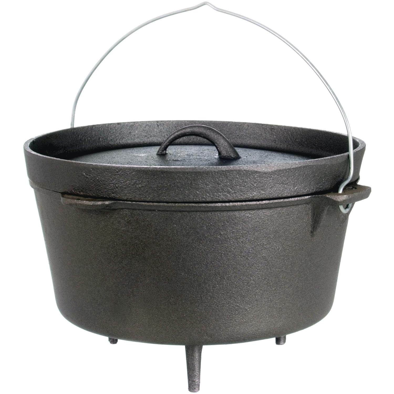 Cajun Cookware Pots With Legs 9 Quart Seasoned Cast Iron Camp Pot