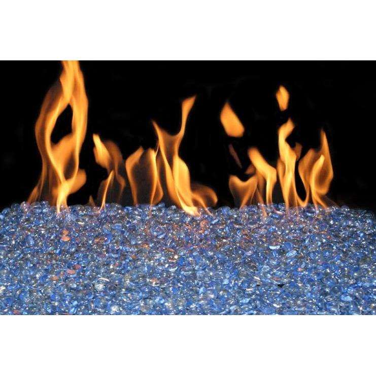 Peterson Fyre Gems 18 Inch Indigo Swirl Fire Gem Set With Vented Natural Gas G45 Burner - Basic On/Off Remote