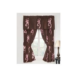 Browning Buckmark Pink Window Curtains