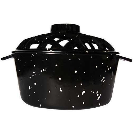 UniFlame Black Porcelain Coated Lattice Top Steamer With White Speckles