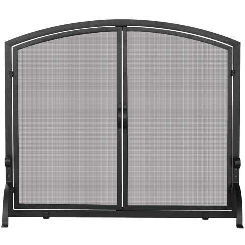 UniFlame 39 Inch Black Wrought Iron Single Panel Fireplace Screen With Doors
