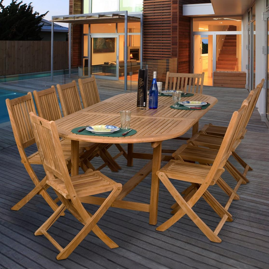 Amazonia Teak Bergen 10-person Teak Patio Dining Set With Extension Table And Folding Chairs