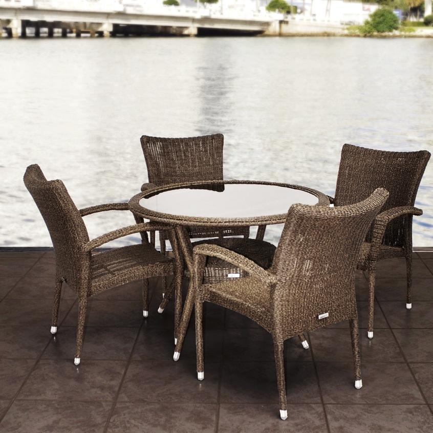 Atlantic Bari 4-Person Resin Wicker Patio Dining Set With Glass Top Table And Stacking Chairs 2866286