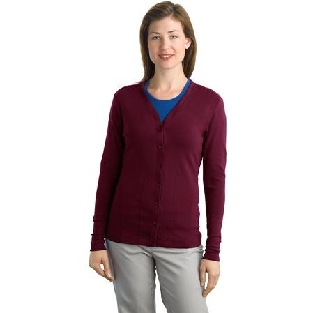 Port Authority Ladies Modern Stretch Cotton Cardigan 3XL - Maroon