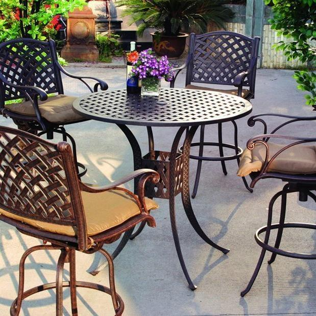 Darlee Nassau 4-Person Cast Aluminum Patio Bar Set - Antique Bronze