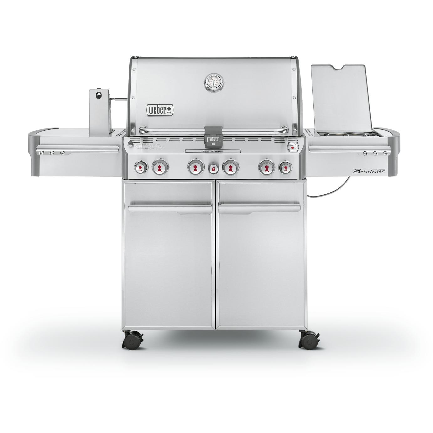 Weber Summit S-470 Propane Gas Grill On Cart With Rotisserie, Sear Burner & Side Burner 2730212