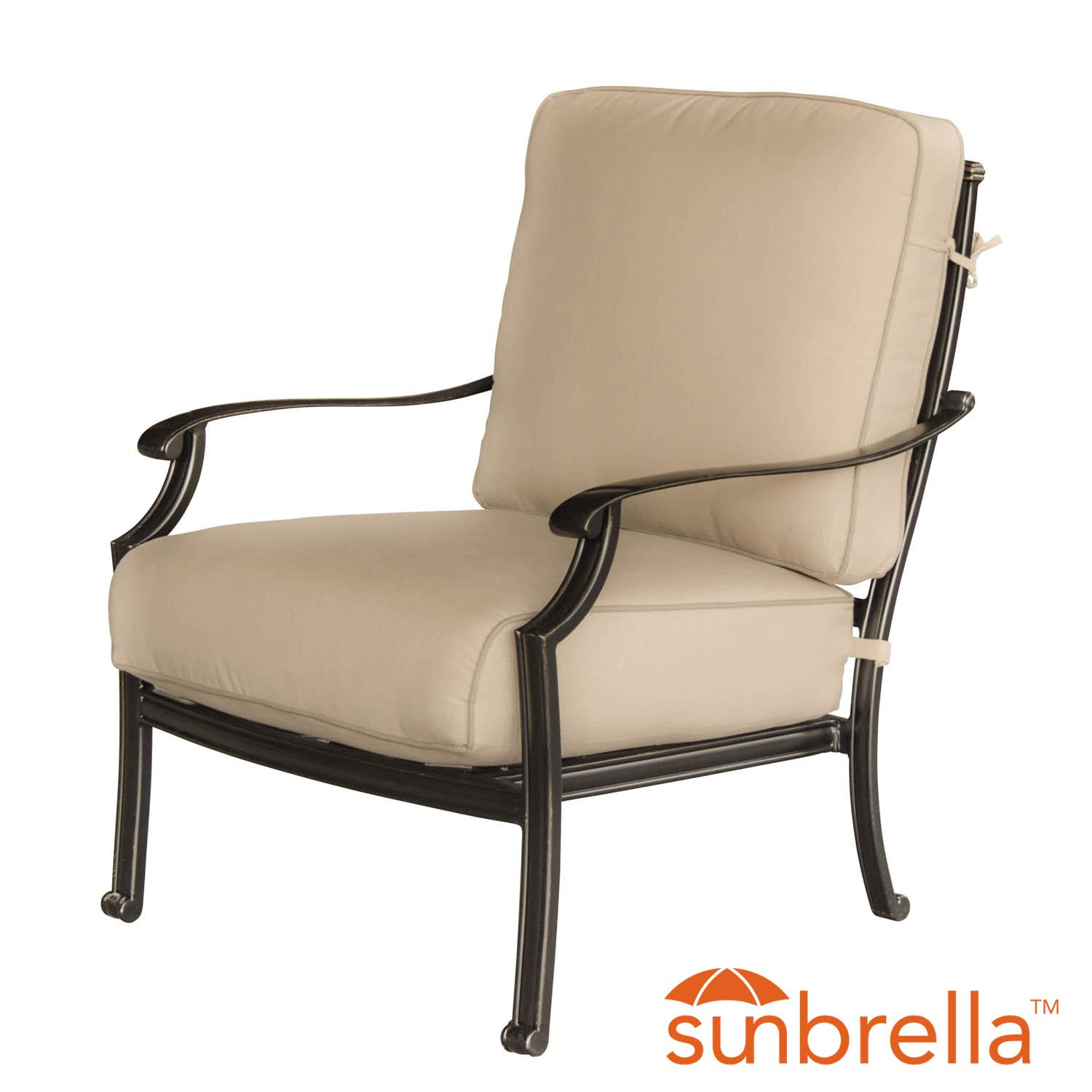 Carondelet Cast Aluminum Patio Club Chair W/ Sunbrella Sp...