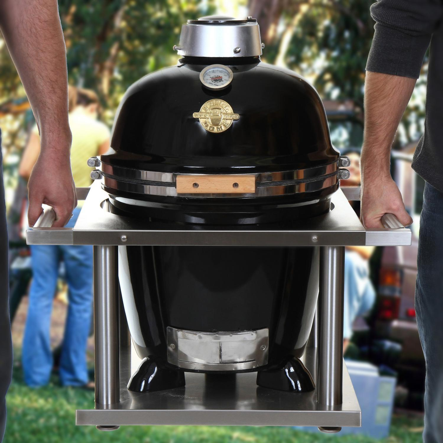 Grill Dome Infinity Series Small Black Kamado Grill With Kamagater, Discount ID GDS-BK KAMGTR-16