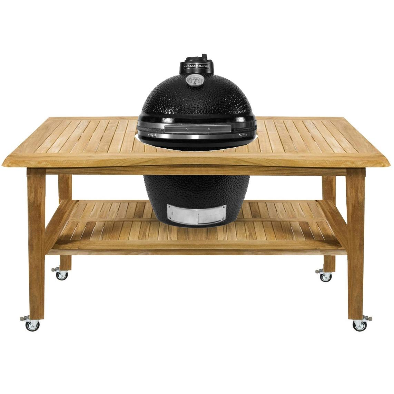 Kamado Joe ClassicJoe Ceramic Grill With Stainless Bands On Eucalyptus Table - Black, Discount ID KJ23NBS KJ-ET