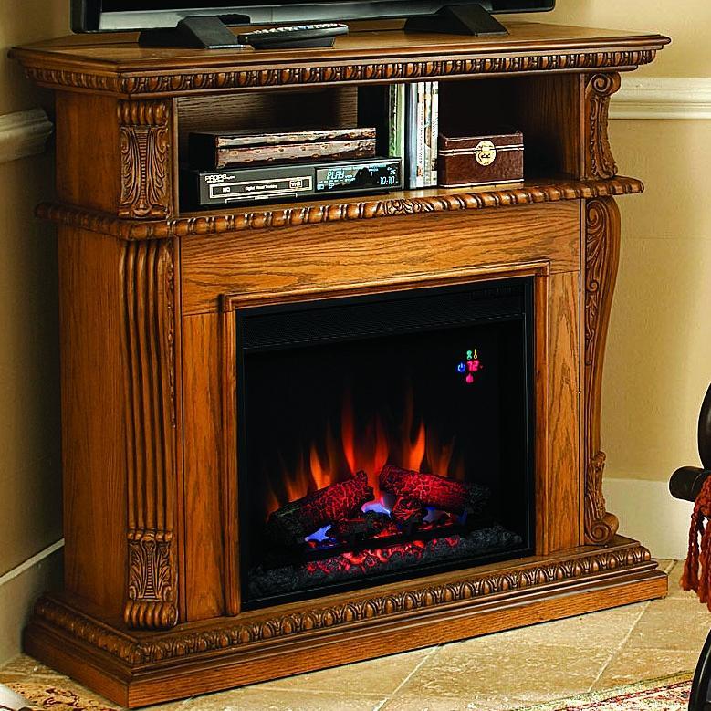 Corinth 42-inch Electric Fireplace Media Console - Premium Oak - 23de1447