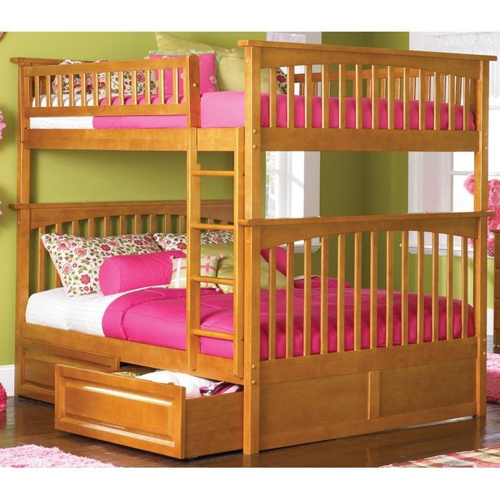 Atlantic Furniture 2021701 Columbia Twin / Full Bed Caramel Latte W/ Raised Panel Drawers